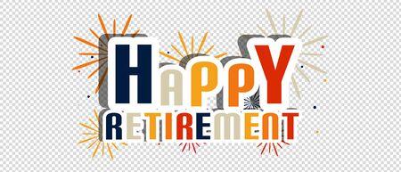 Letras de feliz jubilación con fuegos artificiales y sombra - ilustración vectorial - aisladas sobre fondo transparente Ilustración de vector