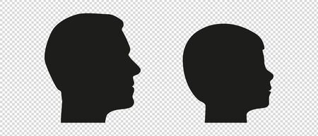 Head Silhouette From Father And Son - Man And Boy Vector Edition - Isolated On Transparent Background