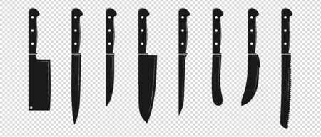 Kitchen Knife Set - Vector Illustration - Isolated On Transparent Background Stock Illustratie