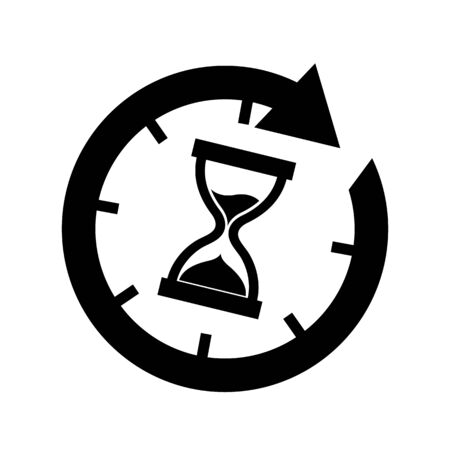 Hourglass Time Icon - Vector Illustration - Isolated On White Background Stock Illustratie