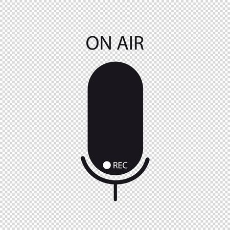 Microphone Icon - Vector Illustration - Isolated On Transparent Background Stock Illustratie