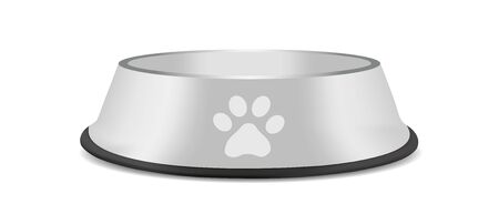 Pet Feeding Bowl On Black Rubber Base - Vector Illustration - Isoalted On White Background