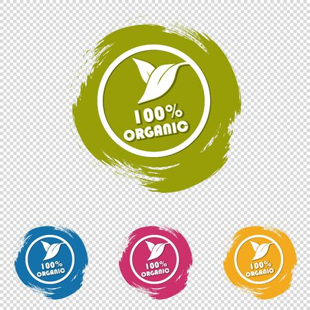 100% Organic Buttons With Leaves - Colorful Vector Brushstrokes - Isolated On Transparent Background Stock Illustratie