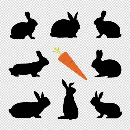 Rabbit Silhouettes And Carrot - Black Vector Illustration Set - Isolated On Transparent Background