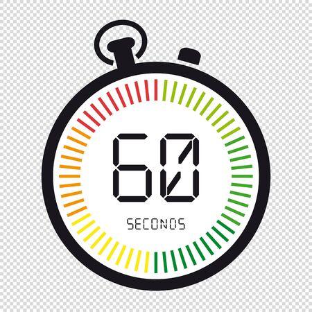 Heure et horloge, 60 secondes - Illustration vectorielle - isolé sur fond transparent