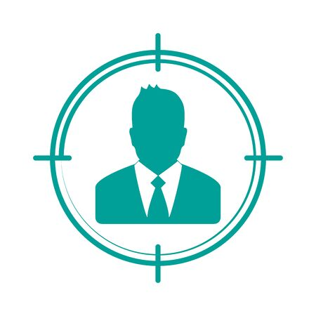 Target Audience Icon - Vector Businessman Illustration - Isolated On White Background