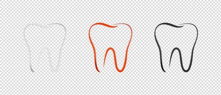 Teeth Set - Outline Vector Illustration - Isolated On Transparent Background