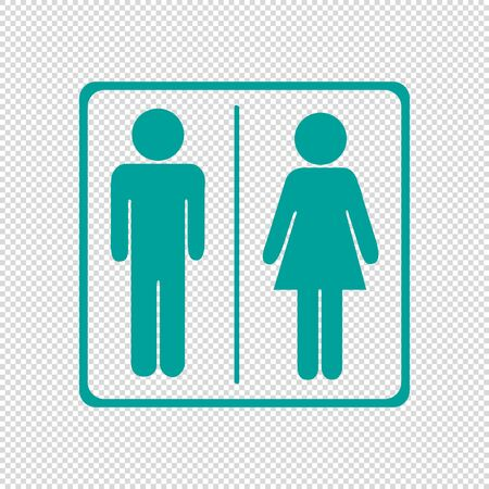 Toilets Icon Unisex - Vector Illustration - Isolated On Transparent Background