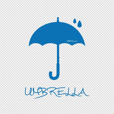 Umbrella Silhouette With Raindrops - Blue Vector Illustration - Isolated On Transparent Background Stock Illustratie