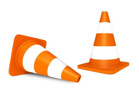 Standing And Lying Traffic Cones With Light Reflections - 3D Illustration Isolated On White Background