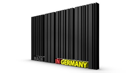 Barcode Made In Germany - 3D Illustration - Isolated On White Background