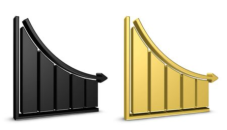 Business Chart Down - Black And Golden 3D Illustration - Isolated On White Background