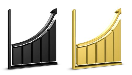 Business Chart Up - Black And Golden 3D Illustration - Isolated On White Background