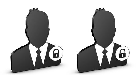 Business Man, Locked And Unlocked User Icon - 3D Illustration Isolated On White Background Stockfoto