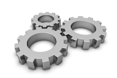 Gears - Silver Gray Metallic 3D Illustration - Isolated On White Background Imagens