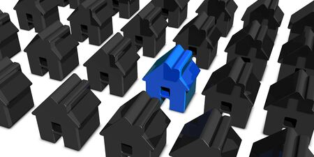 Blue House Among Black Houses - 3D Rendering Hunting And Searching Concept - Isolated On White Background