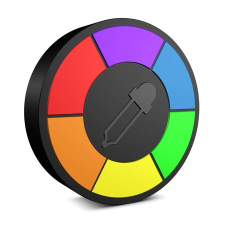 Color Wheel With Pipette - Colorful 3D Illustration - Isolated On White Background 写真素材