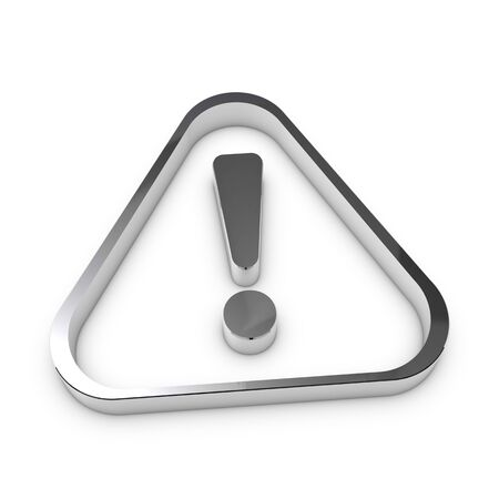 Silver Metallic Attention Sign - Realistic 3D Illustration - Isolated On White Background 版權商用圖片 - 148056077