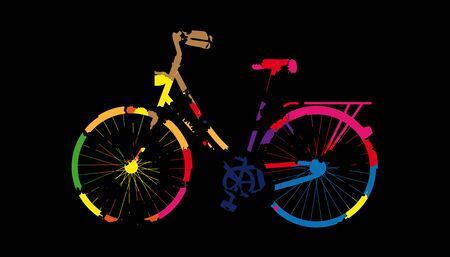 Painted Bicycle With Colored Blobs - Colorful Illustration - Isolated On Black Background