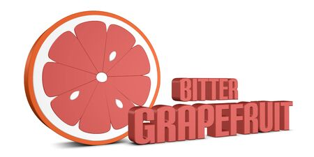 Bitter Grapefruit Slice - Standing 3D Illustration With Shadow - Isolated On White Background