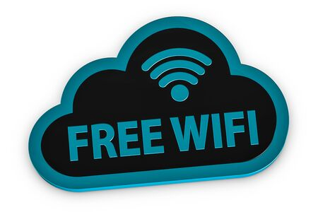 Free WIFI Cloud Symbol - 3D Illustration - Isolated On White Background