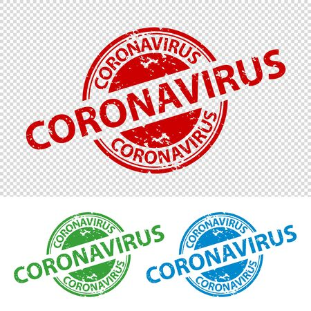 Rubber Stamp Seal Coronavirus - Vector Illustration - Isolated On White And Transparent Background