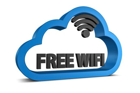 Free WIFI Cloud Symbol - Black And Blue 3D Illustration - Isolated On White Background