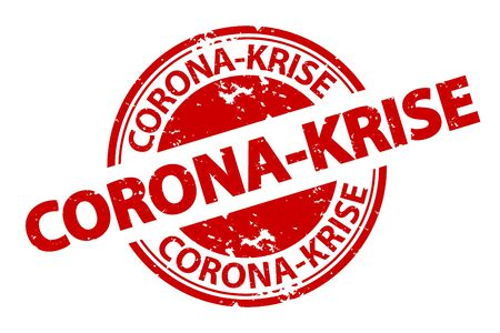 German Rubber Stamp Seal Corona Crisis - Red Vector Illustration - Isolated On White Background 向量圖像
