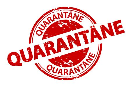 German Rubber Stamp Quarantine - Red Vector Illustration - Isolated On White Background