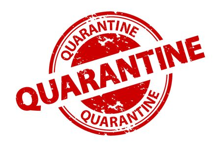 Rubber Stamp Quarantine - Red Vector Illustration - Isolated On White Background