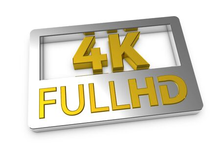 4K FullHD Symbol - Silver And Golden 3D Illustration - Isolated On White Background 版權商用圖片