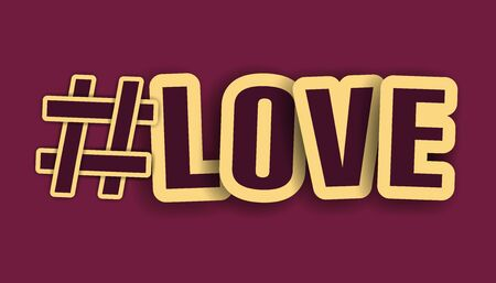 Hashtag Love Letters With Golden Stroke - 3D Illustration Isolated On Purple Background