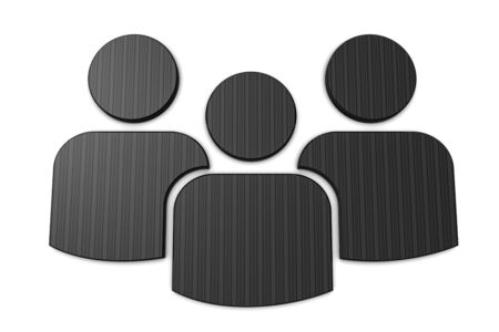 Group Of People - Metallic 3D Illustration - Isolated On White Background