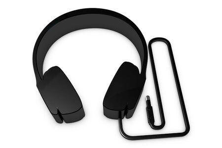 Metallic Headphone Symbol With Wire And Plug - Black 3D Illustration - Isolated On White Background 版權商用圖片