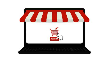 Laptop Online Shop Symbols - Awning, Shopping Cart And Mouse Pointer - 3D Illustration Isolated On White Background
