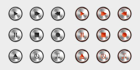 Media Player Control Button Set - Switched Off And Switched On Version - Silver Metallic 3D Illustration - Isolated On White Background 版權商用圖片