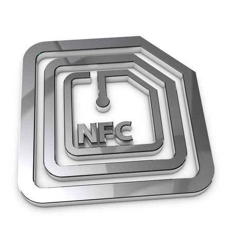 Silver Metallic NFC Technology Symbol - 3D Illustration Isolated On White Background