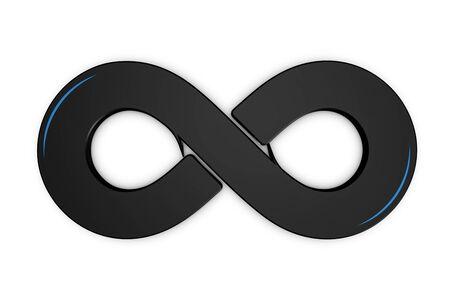 Infinity Symbol - Black 3D Illustration - Isolated On White Background