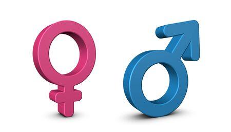 Male And Female Sex Symbols - 3D Illustration - Isolated On White Background 版權商用圖片
