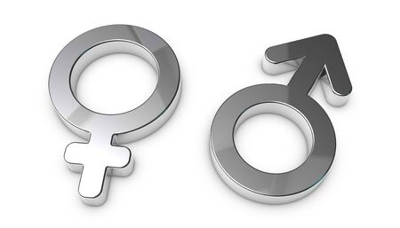 Male And Female Sex Symbols - Silver Metallic 3D Illustrations - Isolated On White Background