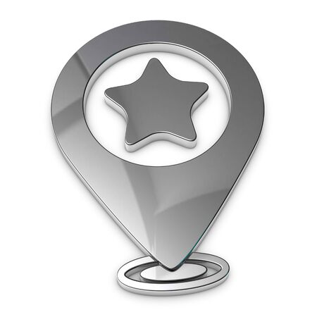Map Pointer, Location Finder, Favorite Icon - Silver Metallic 3D Illustration - Isolated On White Background