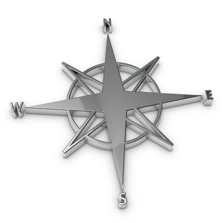 Compass Symbol - Silver Metallic 3D Illustration - Isolated On White Background 版權商用圖片