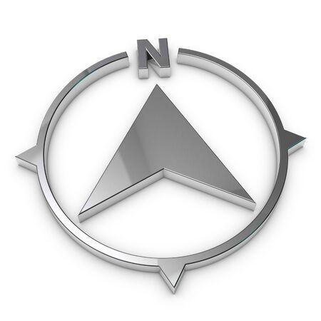 North Direction Compass Symbol - Silver Metallic 3D Illustration - Isolated On White Background 版權商用圖片
