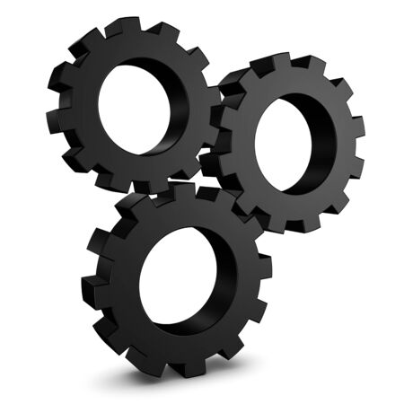 Standing Gears With Shadow - Black 3D Illustration - Isolated On White Background 版權商用圖片