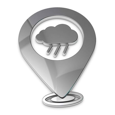 Map Pointer, Location Finder, Weather Icon - Silver Metallic 3D Illustration - Isolated On White Background