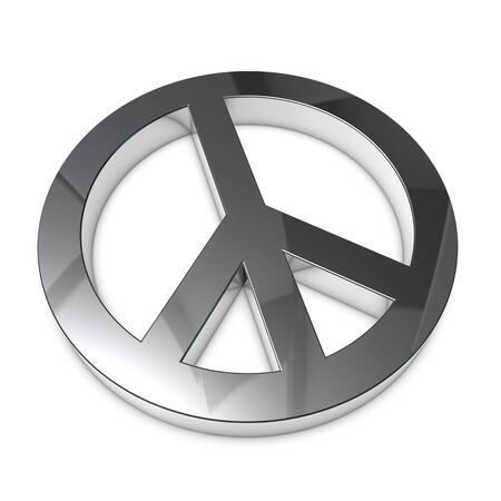 Peace Sign Silver Metallic  Isolated On White