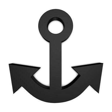 Ship Anchor - Black 3D Illustration - Isolated On White Background 版權商用圖片 - 146361720