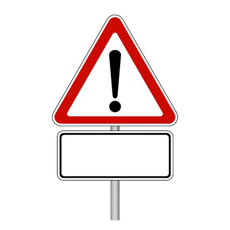 Attention Sign - Empty Road Sign - Vector Illustration - Isolated On White Background