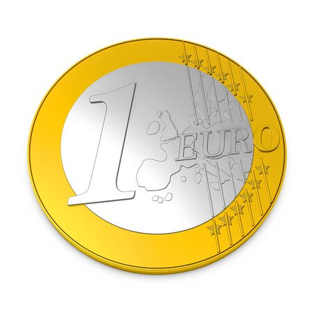 One Euro Coin - 3D Illustration - Isolated On White Background 版權商用圖片 - 146045358
