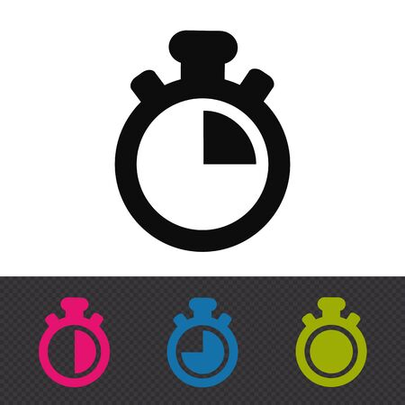 Stopwatch Icons - Colorful Vector Illustrations - Isolated On White And Transparent Background 向量圖像